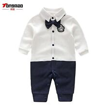 Newborn Baby Boy Rompers Autumn Kids Gentleman Clothes Long Sleeve One Pieces