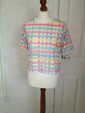NEW PRIMARK WHITE & PASTEL CHECKED BURN OUT T-SHIRT – KITSCH SUMMER
