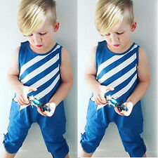 Newborn Infant Toddler Baby Boy Jumpsuit Romper Playsuit Striped Outfits Clothes