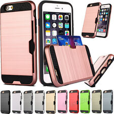 Slim Sleek Case With ID Credit Card Slot Holder Cover For iPhone / Samsung 0046K