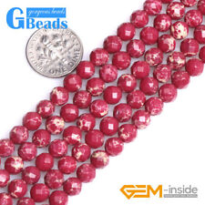 """Dark Red Crazy Lace Agate Gemstone Faceted Round Beads For Jewelry Making 15"""" GB"""
