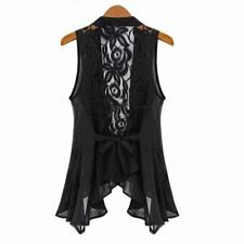 Women Lace V-neck Vest Sleeveless Top Chiffon Vintage Shirt Blouse Vest ladies