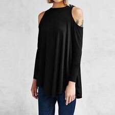 Women Top Sexy Tunic Off cold Shoulder Long Sleeve  Blouse Shirt