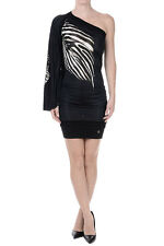 ROBERTO CAVALLI New Woman Printed MultiCOLOR ONE SHOULDER Dress Made in Italy