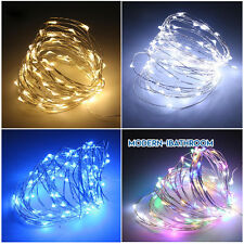 Battery Operated LED String Lights 2/4M Copper Wire Decor Home Festival PartyLit