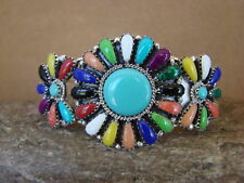 Navajo Indian Jewelry Sterling Silver Turquoise and Gemstone Cluster Bracelet!