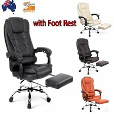 Executive Leather Racing Deluxe Office Chair with Foot Rest High Back Gaming Pad