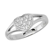 Children's Sterling Silver Cubic Zirconia Heart Signet Ring G7189