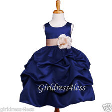 NAVY/CHAMPAGNE PAGEANT WEDDING PICK UP FLOWER GIRL DRESS 6M-18M 2 4 6 8 10 12