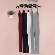Fashion Rompers Womens Jumpsuit Halter Cotton Solid Skinny Bodycon Full Length