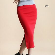 YI-NOKI Winter Autumn Long Skirt Fashion Sexy Solid Color Cotton Skirts Womens