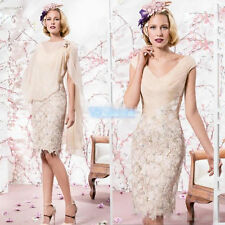 Mother of the Bride Dress Cheap V-Neck Applique Lace Dress With Chiffon Shawl