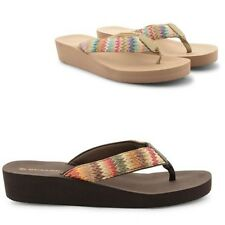 LADIES DUNLOP TOE POST SUMMER BEACH WEDGE SANDALS WOMENS FLIP FLOPS SIZE UK