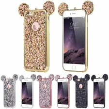 Bling Paillettes Soft TPU Case Mickey Ear Shockproof Cover For iPhone X 7 8 Plus