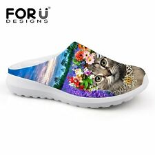 FORUDESIGNS Lady Slippers Breathable Mesh Shoes 3D Animal Pet Cat Print Women