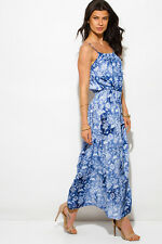 BLUE TIE DYE BUTTERFLY FLORAL PRINT BOHO MAXI SUN DRESS