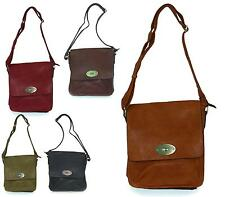 WOMENS SMALL VINTAGE FAUX LEATHER CROSS OVER SATCHEL LADIES FLAT BAG