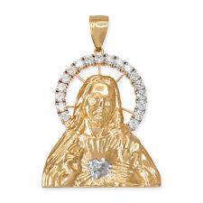 """Solid Yellow Gold CZ """" Sacred Heart Of Jesus """" Backside Engraved 3 Sizes Pendant"""