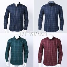 Mens Cotton Long Sleeve Plaid Slim Fit Button-Down Casual Business Dress Shirts