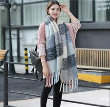 Winter Scarves Women Long Plaid Cashmere Scarf Pashmina Warm Women's Oversized