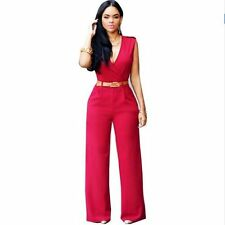 Women Wide Leg Pants Jumpsuit Sleeveless V Neck Rompers Full Length Casual Monos