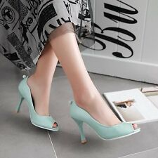 Large size 33-43 NEW peep toe women pumps thin heels solid color sweet fashion