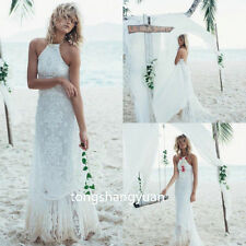 New Beach Bridal Gowns Lace White Ivory Wedding Dresses Halter Custom Sleveeless