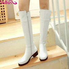 New  2016  Buckle Leisure Shoes Women Fashion Riding Boots White Winter Shoes