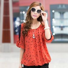 Polka Dot Print Chiffon Blouse Plus Size Casual Shirts Women Clothing Spring