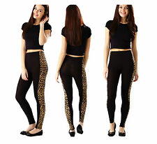 New Womens Ladies Side Panel Animal Leopard Print Full Length Leggings Size 8-22
