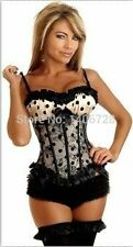 Plus Size Sexy Black Lace Corset With G-String AB855 Top with Strap Black Polka