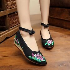 Pointed Old Beijing Flower Embroidered Women Shoes Mary Jane Flat Heel Denim