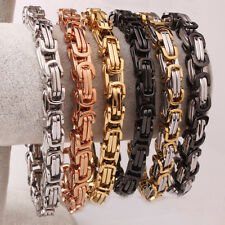 Hot Nice Mens Gifts 316L Stainless Steel 8mm Box Byzantine Chain Bracelet 9inch