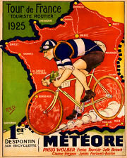 """1925 Tour de France Meteore Bicycle Bike Cycle 16"""" X 20"""" Vintage Poster FREE S/H"""