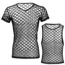 Men Muscle Mesh Fishnet See-through T-shirt Vest Tank Top Singlet Tee Clubwear