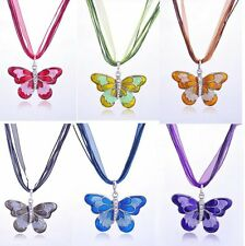 Vintage Crystal Butterfly Pendant Necklace Long Sweater Chain Womens Jewellery