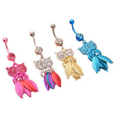 Piercing 1Pcs Body Belly Ring Owl Leaves Rhinestone Navel Button Stainless Steel