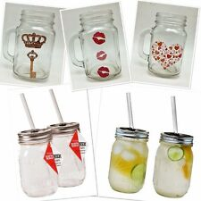 1 Mason Jar With Handle Graphic Drinking Glasses Clear 16oz New