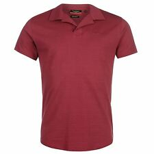 Pierre Cardin Open Neck Polo Shirt Mens Burgundy Collar T-Shirt Top Casual Wear