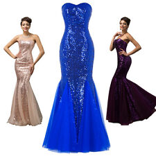 2017 HOT Sequined Mermaid Wedding Bridesmaid Dress Formal Long Evening Ball Gown