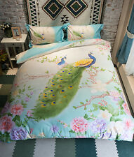 Elegant Blue Colourful Floral Nature Pattern With Iconic Peacock  Cotton Bed Set