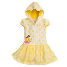 NWT Disney Store sz 4 5 6 7 8 Belle Terry Swim Hooded Coverup Beauty & the Beast
