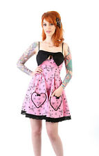 Lucky 13 Women's dress Scarlet Bow Dress with heart pockets PINK Pin Up