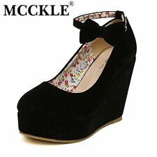 MCCKLE  Women Fashion Buckle Ladies Shoes Wedges High Heels Platform black