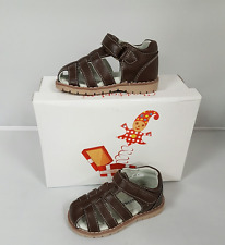 Boys Chatterbox Leo Brown Covered Toe Sandals Ripper Strap Shoe Size 4 8 9 10