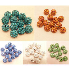 10PCS Czech Crystal Rhinestone Pave Clay Round Disco Ball Spacer Beads jewelry