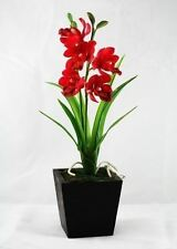 "Real Touch 10"" Cymbidium Orchids Artificial Flowers Made from Clay (set 4 stems)"