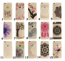Ultra Thin Floral Soft TPU Gel Clear Silicone Back Case Cover For iPhone Samsung