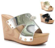 Womens Cloggs High Platform Wedge Wooden Heel Studs Slip On Sandals Ladies Shoes