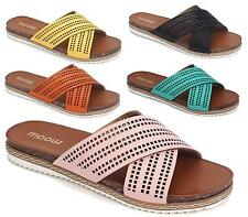WOMENS LADIES NEW SUMMER FLAT SLIP ON LASER CUT BEACH HOLIDAY SANDALS SHOES SIZE